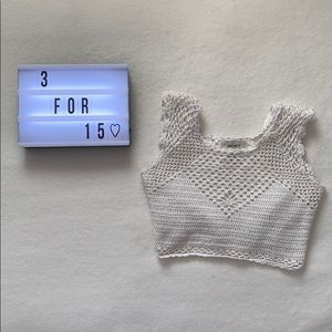 White Crochet/Knit Crop Top